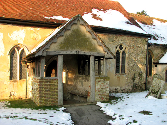 Porch of All Saints and St Margaret's church in Chattisham