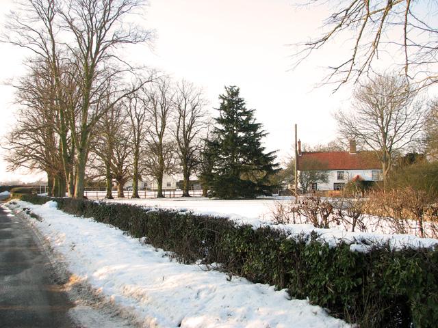 Coles Green Farmhouse in the snow