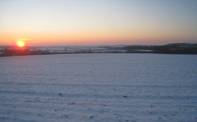 Sunset over Hampshire in winter