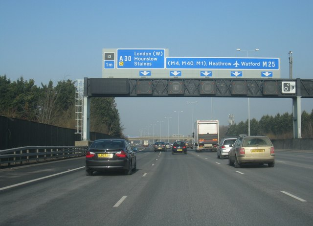 M25 - 1 mile to junction 13