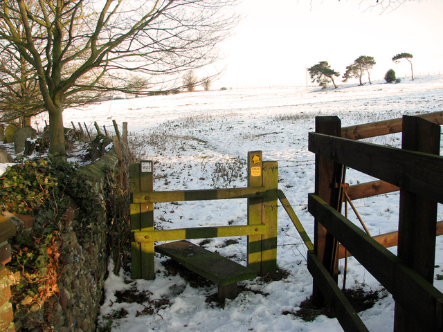 Stile on footpath past Washbrook St Mary's church
