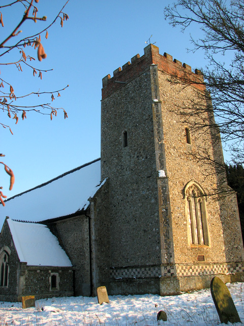 Washbrook St Mary's church in the snow
