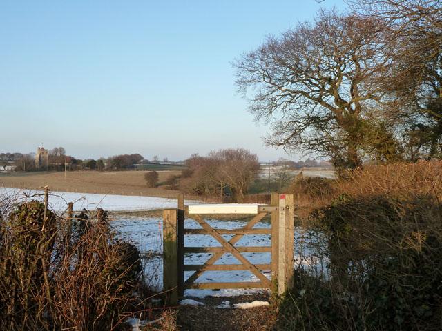 Gate to a snowy field