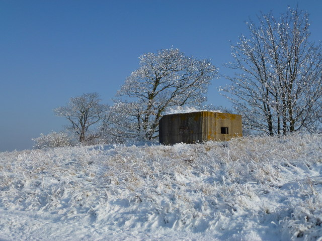 The Wash coast in winter - Snow covered pillbox