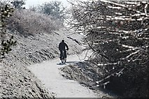 SO7641 : Cycling on ice in the Malvern Hills by Bob Embleton