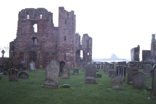 Lindisfarne Priory, with a distant view of the Castle