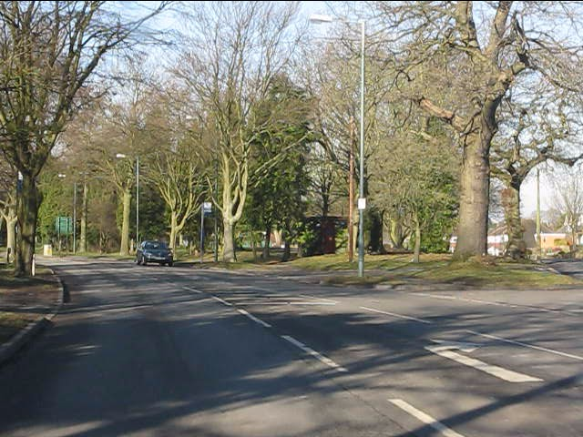 Solihull - Streetsbrook Road at the eastern end of the Green