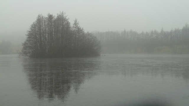An iced up Bantons Lake and Island