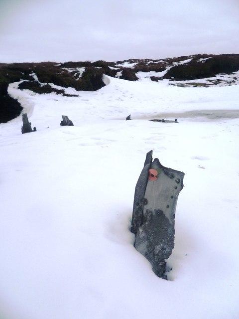 Wreckage of USAAF Liberator B-24J on Mill Hill