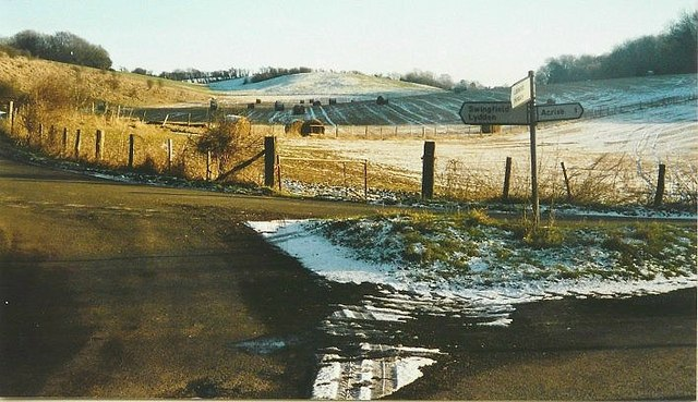 Road junction near Acrise in 2000