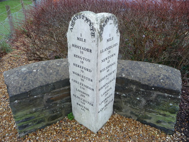 Milestone beside the A44 trunk road in Aber