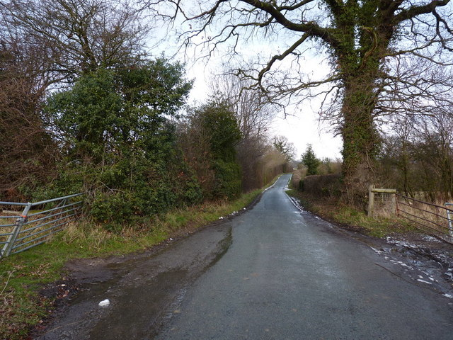 Looking back along the lane towards Harley