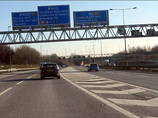 M6 motorway at junction 4a southbound