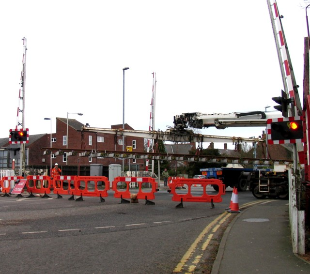 Rail Action at Oakham 14:The lorry moves away