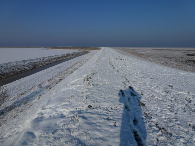 The Wash coast in winter  - Shadowy character on the snow