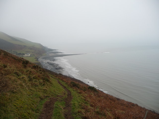 View south on the coast path near Wallog