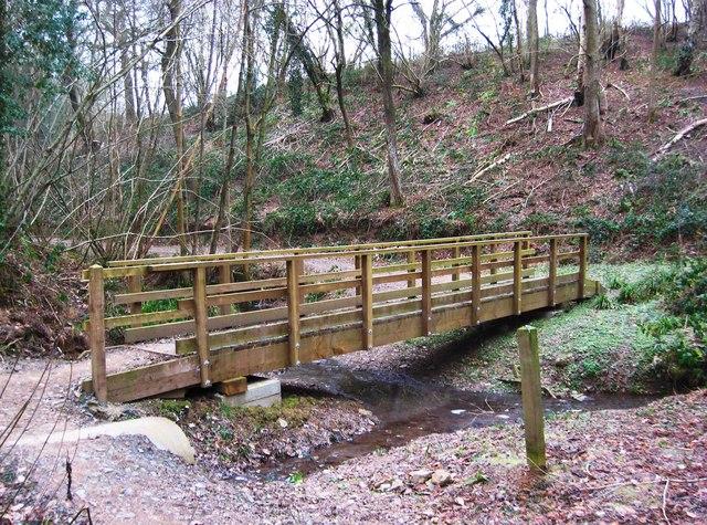 New footbridge in Eymore Wood (close-up),near Trimpley