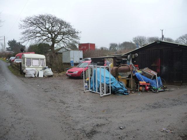 Yard at Tynewydd near Upper Borth