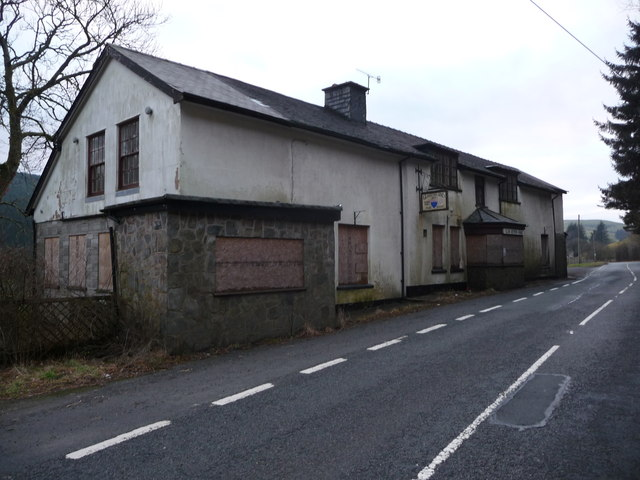 The old Glansevern Arms Hotel on the A44 road