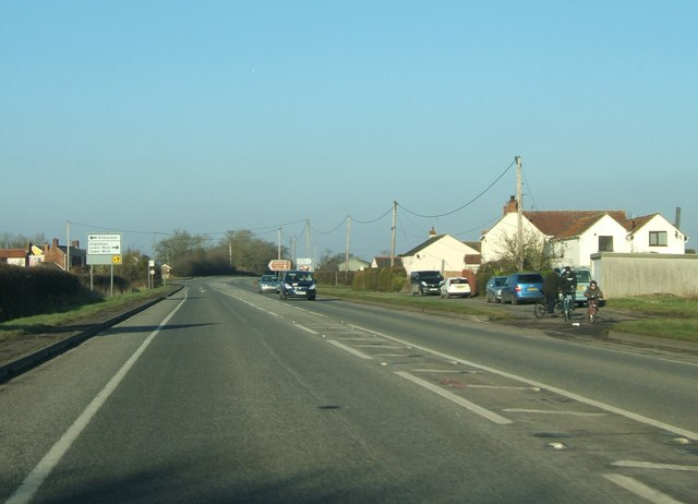 Houses near the A38 staggered crossroads at Heathfield