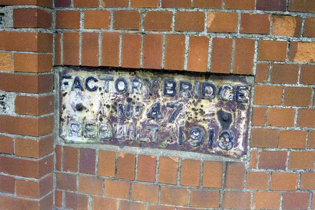 Plate on Shrewsbury Canal bridge 47, 1990