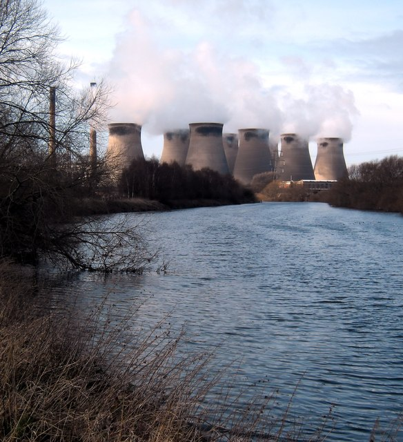 The River Aire and Ferrybridge Power Station