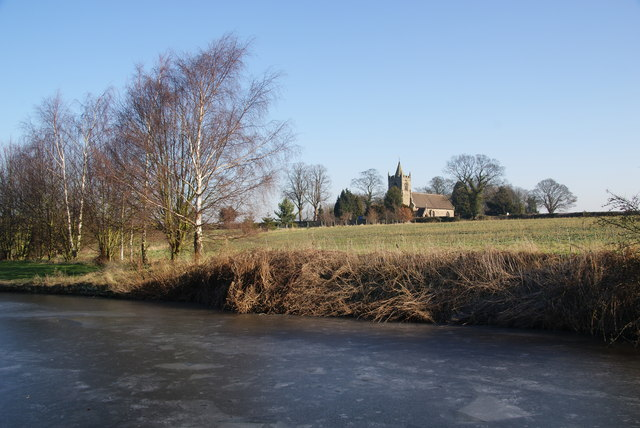 St James's Church, Acton Trussell from the frozen canal