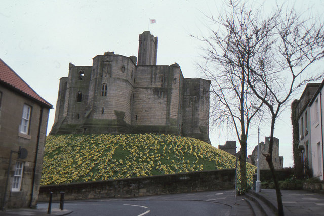 Warkworth Castle from the town