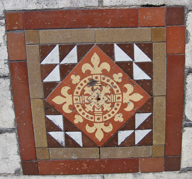 Decorative tile on the former drill hall wall