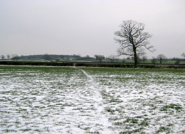 Snowy Footpath across the fields.