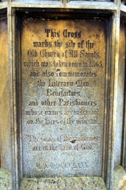 Inscription on All Saints' Cross
