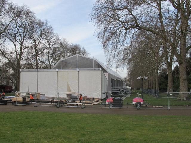 Preparing for London Fashion Week in Kensington Gardens