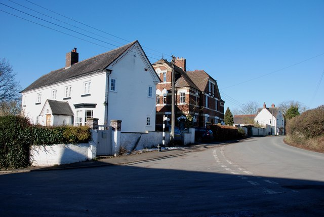 Houses on road junction in Chesterfield, Staffordshire