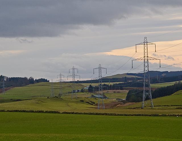 Pylons near Pitkevy Farm