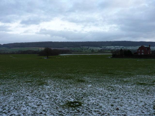 Snow on fields at Merrishaw Farm