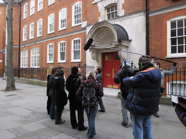 Interview being conducted in Broad Court
