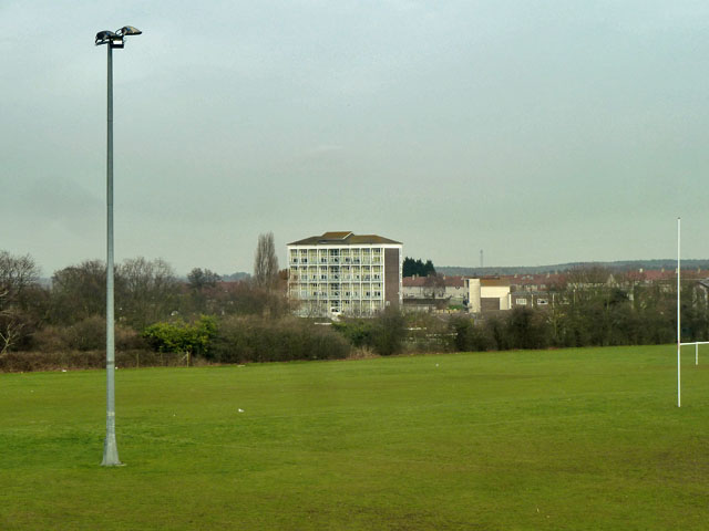 Over the playing fields to Swanscombe House