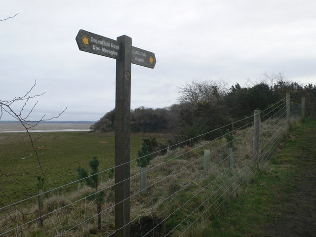 Signpost for the Coastal Path between Bagillt and Greenfield