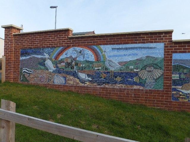 Mosaic mural outside Invertiegn School
