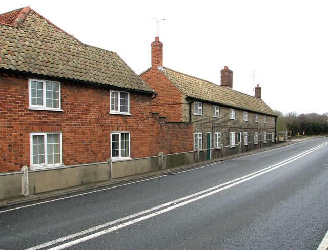 Terraced cottages along the A12 road in Farnham