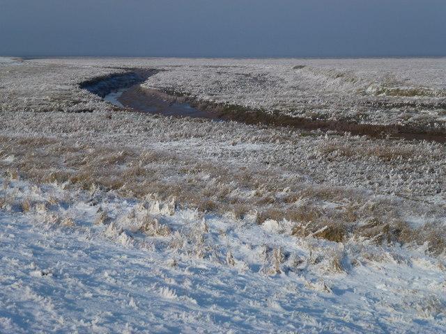 The Wash coast in winter - Tidal creek in the frozen salt marsh