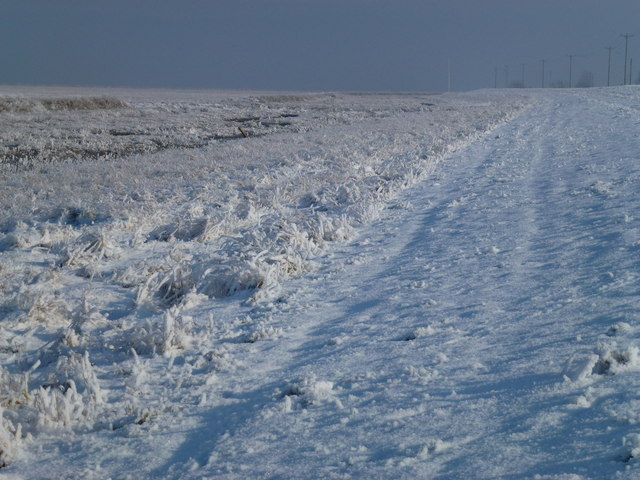 The Wash coast in winter - Snow and hoar frost