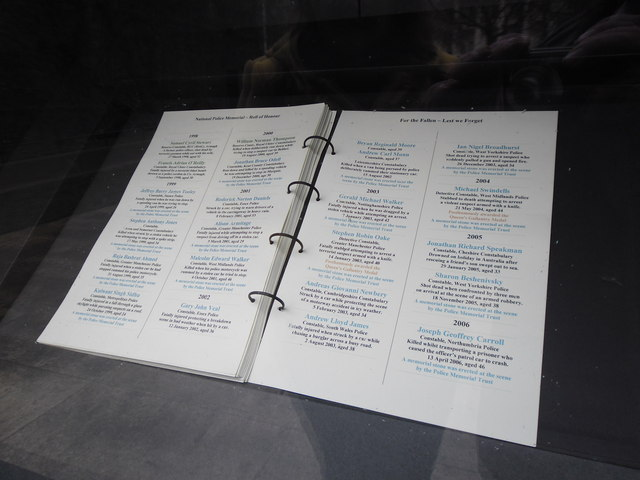 Page of honour at The National Police Memorial