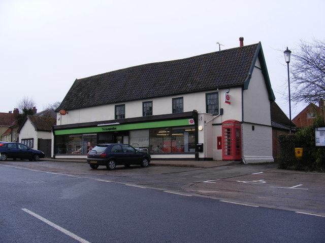 The Co-Operative Laxfield Village Store, Telephone Box & Laxfield Post Office Postbox