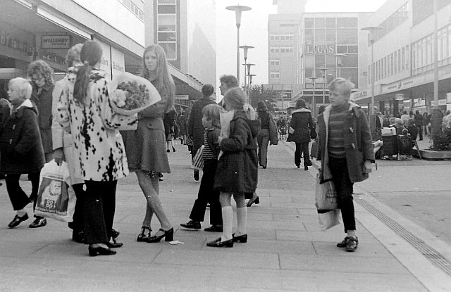 Shoppers in Broad Walk, The High, Harlow