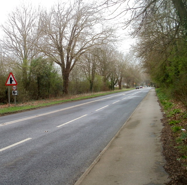 Looking NW along the A48 in the north of Caerwent