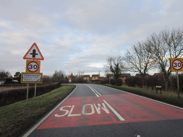 Entering Osbournby on the A15