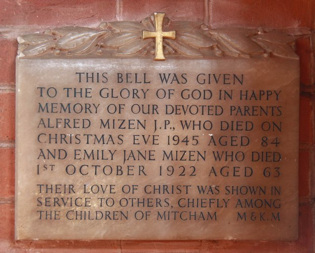 St Mark, St Mark's Road, Mitcham - Wall monument