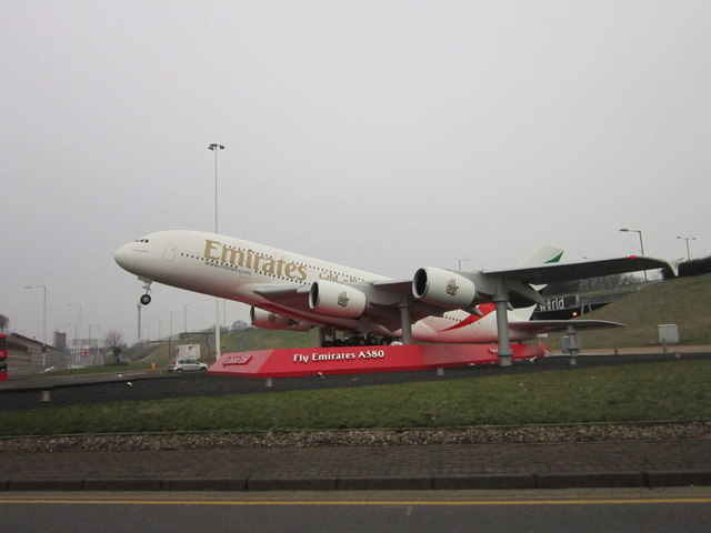 The plane at the entrance to Heathrow Airport