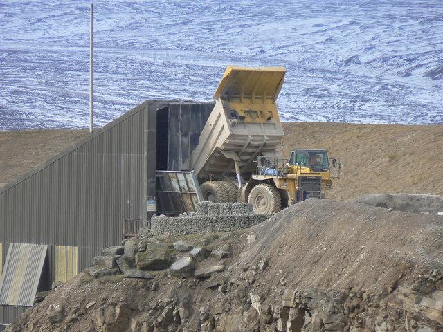 Giant dumper truck at Coldstones quarry